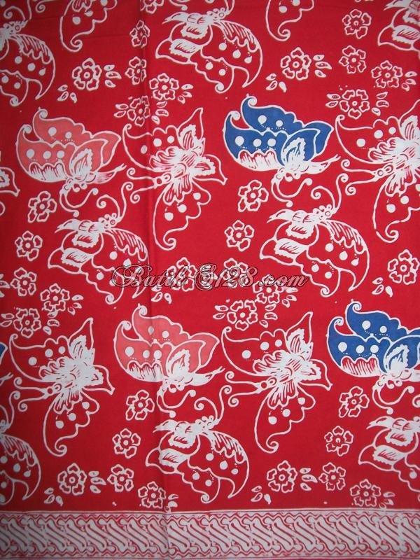 Jual Kain Batik Motif Kupu, Warna Merah, Untuk Parcel Lebaran, Harga Murah [KCTO342]