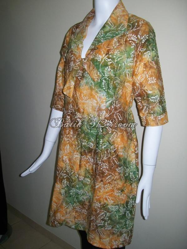 Busana Batik Muslim Model Terbaru, Bisa Buat Baju Lebaran [BLS034