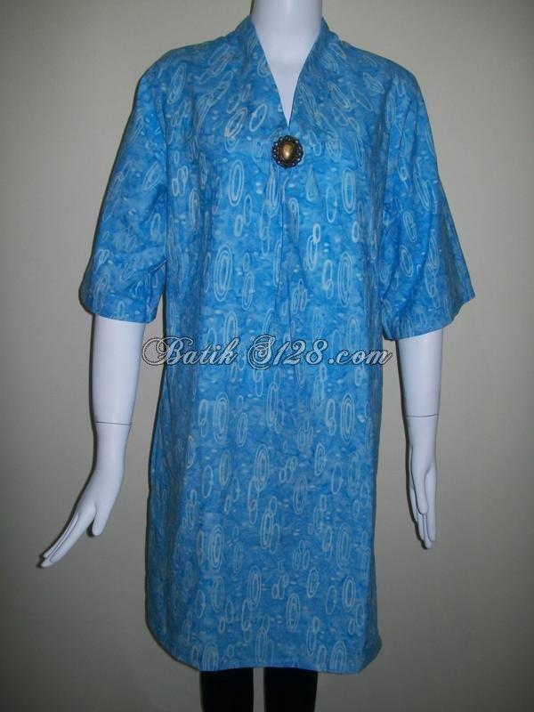 Baju Batik Berkaret Warna Biru,Batik Cap (Handmade) Asli Solo [BLS035]