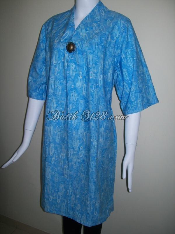 Baju Batik Berkaret Warna Biru Batik Cap Handmade Asli