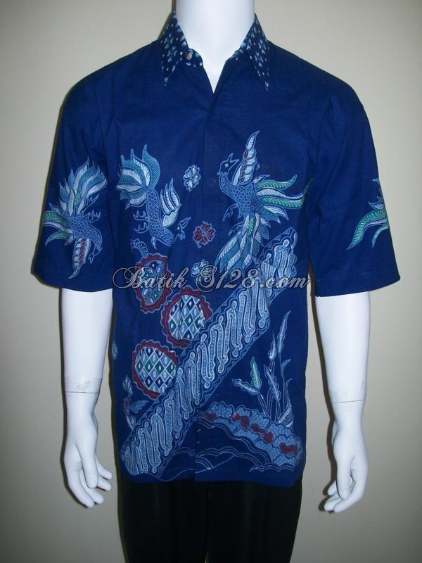 Kemeja Batik Tulis Lengan Pendek Warna Biru [LD109T]