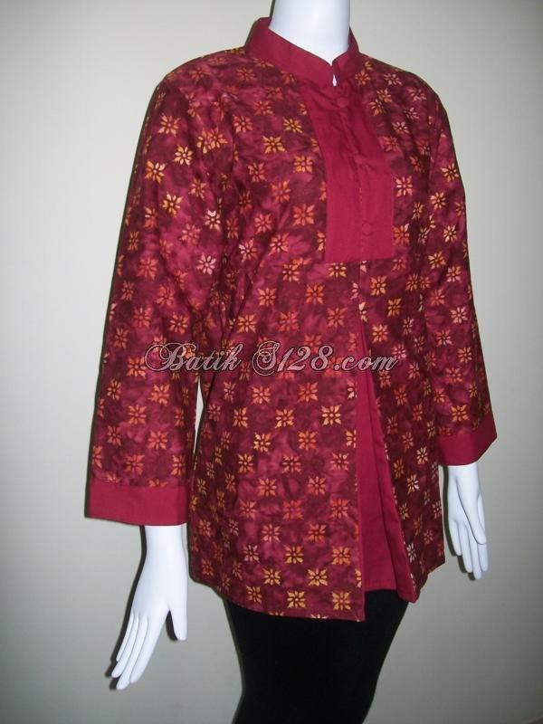 Blus Batik Warna Merah Maroon,Batik Cap,Model Terkini [BLS047]
