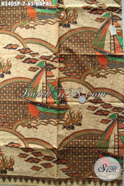 Kain Batik Printing Warna Elegan Motif Kapal, Batik Halus Tren Masa Kini Cocok Untuk Kemeja Lengan Pendek Cowok [K3405P-200x110cm]
