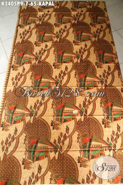 Batik Kain Murmer Motif Kapal Proses Printing, Batik Solo Kwalitas Halus Warna Elegan, Cocok Untuk Pakaian Kerja Dan Santai