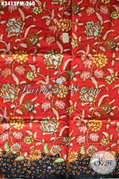 Produk Kain Batik Terbaru Kwalitas Bagus, Kain Batik Mewah Jawa Tengah Motif Terkini Warna Merah Kombinasi Hitam Nan Berkelas Proses Kombinasi Tulis Harga 200 Ribuan, Pas Untuk Busana Kerja Kantoran
