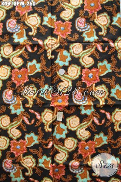Kain Batik Motif Bunga, Batik Solo Elegan Dan Mewah Proses Kombinasi Tulis, Pas Banget Untuk Busana Kerja Wanita Karir [K3418PM-240x110cm]