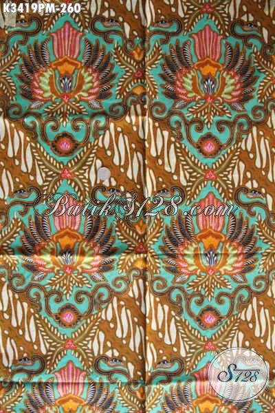 Jual Batik Online Grosir Atau Eceran, Sedia Kain Batik Halus Motfi Mewah Kwalitas Premium, Batik Kombinasi Tulis Khas Jawa Tengah Istimewa Untuk Pakaian Kerja Formal Dan Santai [K3419PM-240x110cm]