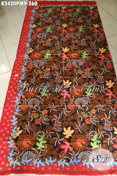 Batik Kain Indonesia Asli Solo, Batik Halus Motif Mewah Proses Kombinasi Tulis Bahan Aneka Busana Modis Dan Berkelas Untuk Acara Resmi Atau Santai [K3420PM-240x110cm]