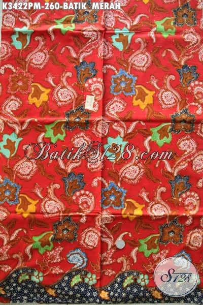 Produk Batik Koleksi Terbaru Di Jual Online, Kain Batik Halus Warna Merah Bahan Aneka Busana Nan Berkelas, Motif Bagus Proses Kombinasi Tulis Harga 260 Ribu Saja