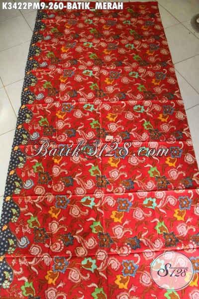Kain Batik Warna Merah Nan Mewah, Batik Kain Solo Halus Motif Terkini Proses Kombinasi Tulis, Bahan Pakaian Santai Dan Resmi Untuk Penampilan Nan Sempurna [K3422PM-240x110cm]