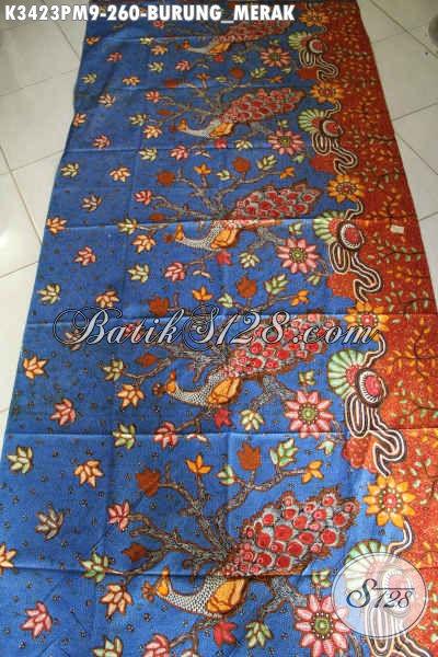 Kain Batik Kwalitas Premium Motif Burung Merak, Batik Modern Kekinian Dengan Paduan Warna Nan Mewah Proses Kombinasi Tulis, Cocok Untuk Busana Santai Maupun Formal