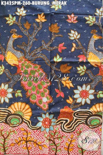 Jual Online Kain Batik Halus Motif Burung Merak, Batik Kombinasi Tulis Kwalitas Premium Bahan Busana Wanita Dan Pria Nan Mewah Berkelas Dengan Harga Terjangkau [K3425PM-240x110cm]