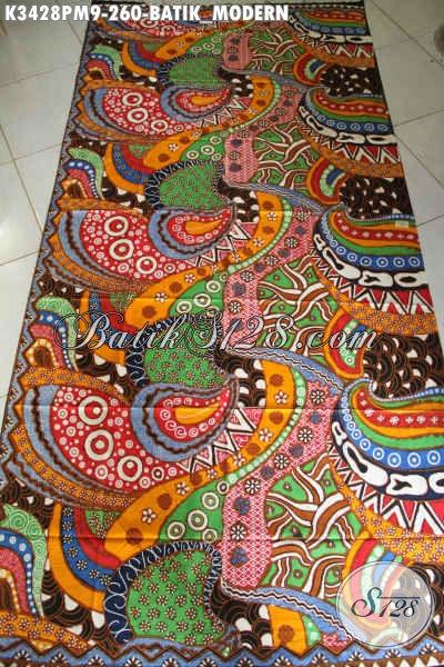 Kain Batik Modern Motif Unik Kwalitas Premium, Batik Solo Asli Proses Kombinasi Tulis, Bahan Pakaian Pria Untuk Penampilan Terlihat Beda Dan Bergaya [K3428PM-240x110cm]