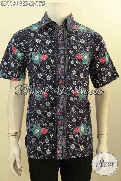 Baju Batik Atasan Pria Motif Trendy Model Lengan Pendek Proses Cap Tulis, Kemeja Batik Keren Untuk Pria Muda Tampil Beda [LD11304CT-M]