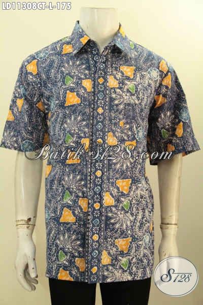 Baju Batik Halus Kwalitas Istimewa, Busana Batik Pria Motif Kekinian Model Lengan Pendek Nan Berkelas Yang Bikin Penampilan Lebih Tampan Mempesona [LD11308CT-L]