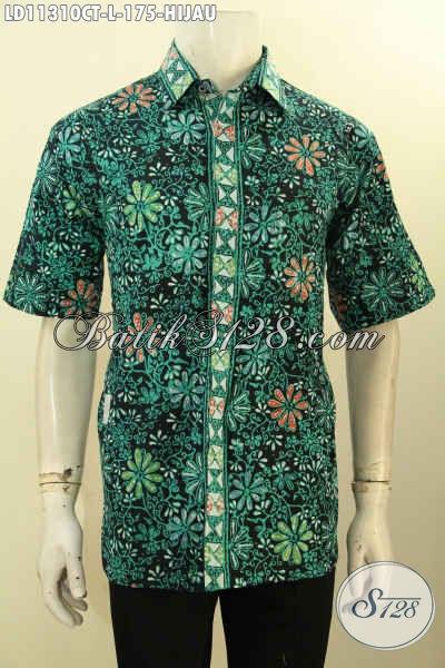 Baju Batik Hijau Pria Size L, Kemeja Batik Solo  Asli Motif Bagus Tren Masa Kini Proses Cap Tulis, Busana Batik Lengan Pendek Cowok Cocok Untuk Kerja [LD11310CT-L]