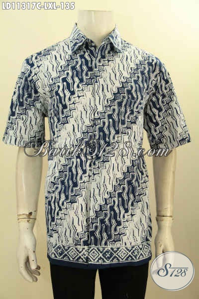 Kemeja Lengan Pendek Motif Parang, Busana  Batik Elegan Bahan Halus Proses Cap, Cocok Untuk Kondangan Dan Acara Resmi