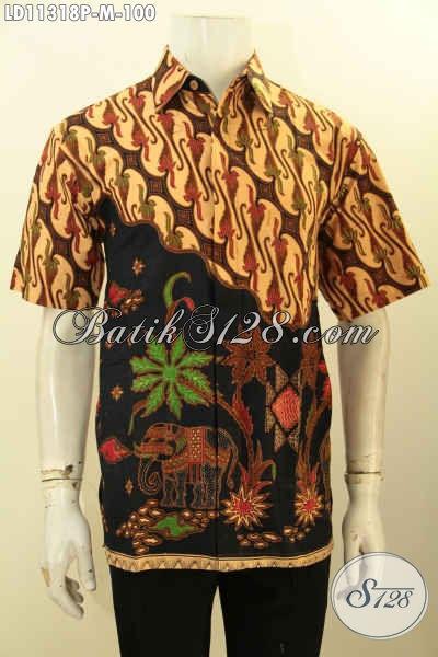 Baju Batik Pria Atasan Untuk Tampil  Gagah Dan Elegan, Busana Batik Printing Lengan Pendek Bahan Halus Kwalitas Istimewa, Penampilan Tampan Mempesona