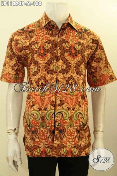 Baju Batik Lengan Pendek Pria Modis Motif Elegan, Busana Batik Solo Berkelas Bahan Adem Proses Printing, Menunjang Penampilan Lebih Gagagh Berwibawa [LD11320P-M]