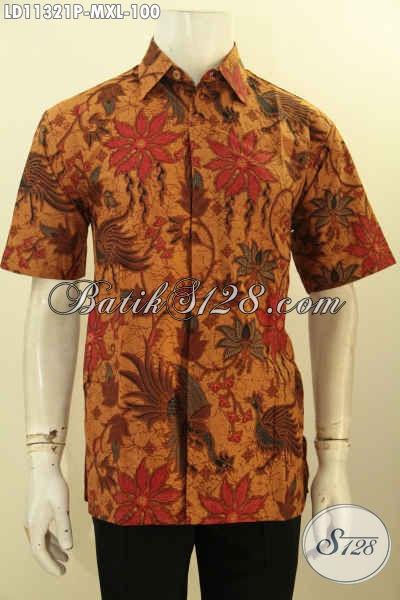 Olshop Busana Batik Cowok Terlengkap, Sedia Kemeja Batik Lengan Pendek Elegan Bahan Halus Motif Bagus Printing, Pas Banget Buat Ngantor [LD11321P-M]