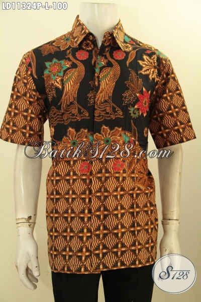 Toko Baju Batik Online Khas Jawa Tengah, Jual Hem Lengan Pendek Elegan Motif Bagus Ukuran L Bahan Adem Proses Printing, Cocok Untuk Acara Santai Dan Resmi