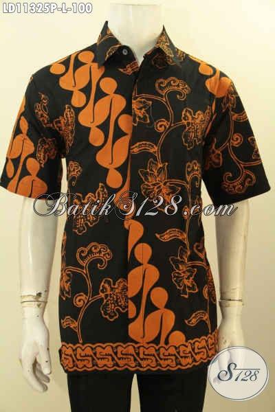 Jual Baju Batik Kemeja Pria Lengan Pendek Size L, Hem Batik Modis Motif Klasik Bahan Adem Nyaman Di Pakai, Istimewa Untuk Acara Resmi [LD11325P-L]