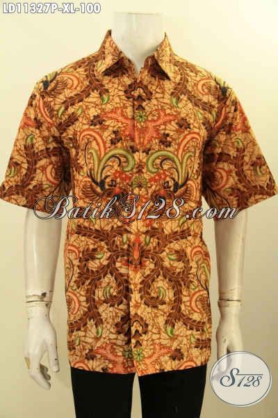 Baju Kemeja Kerja Pria Model Lengan Pendek Motif Mewah, Busana Batik Printing Solo Kwalitas Bagus Bahan Halus Dan Tidak Luntur, Cocok Juga Buat Kondangan  [LD11327P-XL]