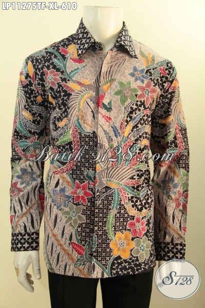 Kemeja Batik Solo Jawa Tengah Mewah Size XL, Hadir Dengan Motif Mewah Berkelas Full Tulid, Baju Batik Lengan Panjang Premium Pilihan Sempurna Tampil Mempesona