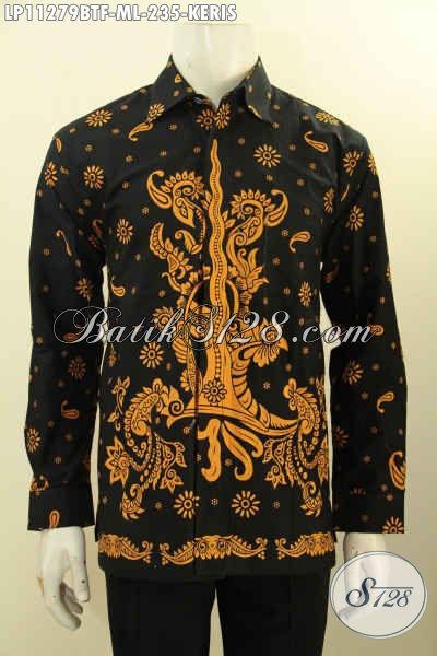 Kemeja Batik Solo Elegan Dasar Hitam Motif Keris, Busana Batik Istimewa Proses Printing Cabut Daleman Full Furing, Tampil Gagah Berkelas