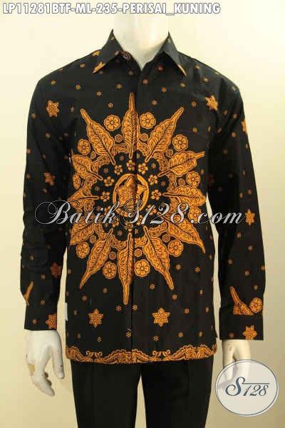 Pakaian Batik Solo Lengan Panjang Full Furing, Baju Batik Modis Motif Perisai Kuning Bahan Adem Kwalitas Bagus, Pilihan Tepat Untuk Tampil Tampan Menawan