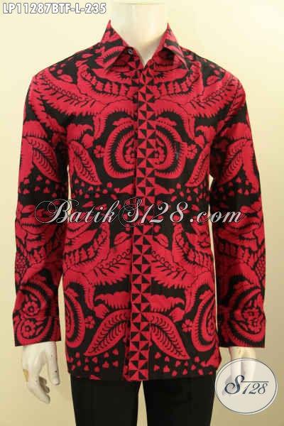 Baju Batik Hem Monokrom Merah Hitam, Kemeja Batik Elegan Lengan Panjang Full Furing Motif Bagus Proses Printing Cabut Hanya 200 Ribuan [LP11287BTF-L]