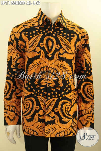 Baju Batik Keren Dan Mewah, Busana Lengan Panjang Desain Trendy Daleman Lapisan Furing Motif Bagus Proses Printing Cabut Harga Terjangkau [LP11288BTF-XL]