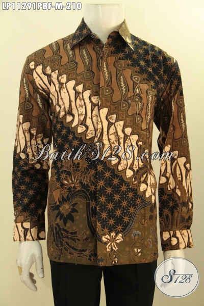 Jual Online Kemeja Batik Solo Jawa Tengah Halus Lengan Panjang, Pakaian Batik Full Furing Bahan Adem Motif Klasik Proses Printing Cabut Untuk Tampil Gagah Elegan