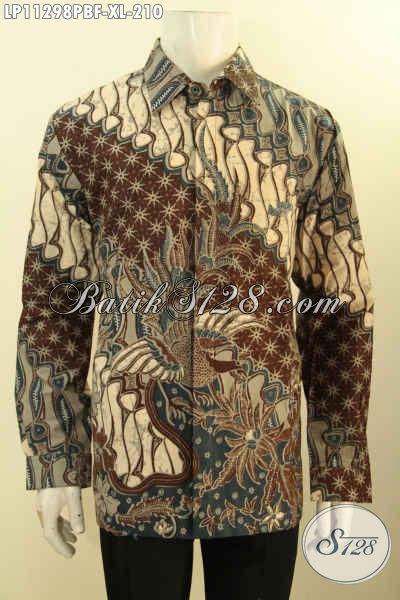 Baju Kemeja Batik Mewah Motif Klasik Printing Cabut, Busana Batik Full Furing Berkelas Untuk Lelaki Dewasa Terlihat Tampan Dan Berwibawa