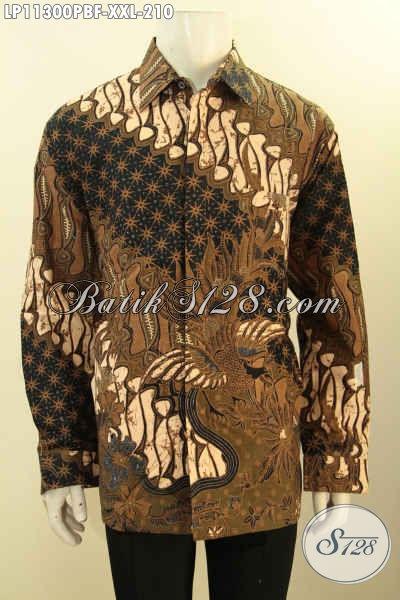 Pusat Baju Batik Solo Online Terlengkap, Sedia Kemeja Batik Formal Lengan Panjang Full Furing, Pakaian Batik Motif Klasik Bahan Adem Bisa Untuk Kerja Dan Kondangan Tampil Menawan [LP11300PBF-XXL]