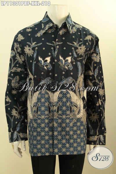Baju Kemeja Batik Kerja Formal Lengan Panjang Pakai Furing, Hem Batik Elegan Motif Klasik Printing Cabut Untuk Kerja Dan Acara Resmi Pria Gemuk Tampil Berwibawa