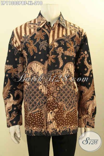 Baju Kemeja Batik Pria Elegan Desain Mewah Formal, Produk Baju Batik Solo Asli Motif Klasik Prose Printing Cabut, Penampilan Terlihat Mempesona