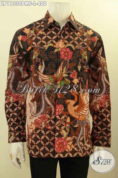 Jual Kemeja Batik Solo Elegan Size L, Pakaian Batik Bagus Motif Mewah Lengan Panjang Bahan Adem Proses Printing, Cocok Untuk Acara Resmi Tampil Tampan Dan Gagah