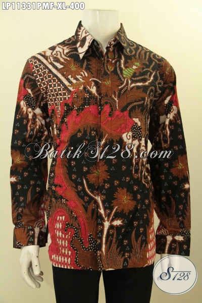 Baju Kemeja Batik Solo Modern Lengan Panjang, Busana Batik Mewah Halus Motif Terkini Daleman Di Lengkapi Furing, Penampilan Terlihat Berwibawa