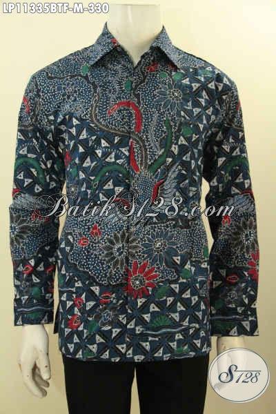Batik Kemeja Keren Motif Bagus Kekinian, Hem Batik Hijau Lengan Panjang Full Furing Proses Kombinasi Tulis, Penampilan Gagah Mempesona