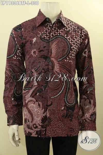 Jual Online Busana  Batik Solo Modern, Pakaian Batik Modis Masa Kini Lengan Panjang Full Furing Warna Elegan Motif Bagus Proses Kombinasi Tulis, Istimewa Untuk Kondangan