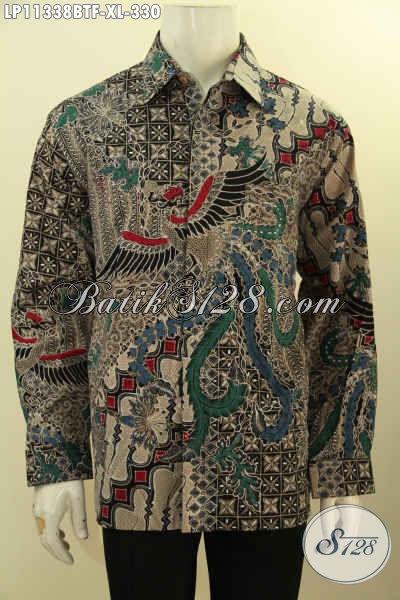Baju Kemeja Batik Solo Lengan Panjang Mewah Pakai Furing Motif Klasik Elegan Kombinasi Tulis, Pria Terlihat Tampan Mempesona