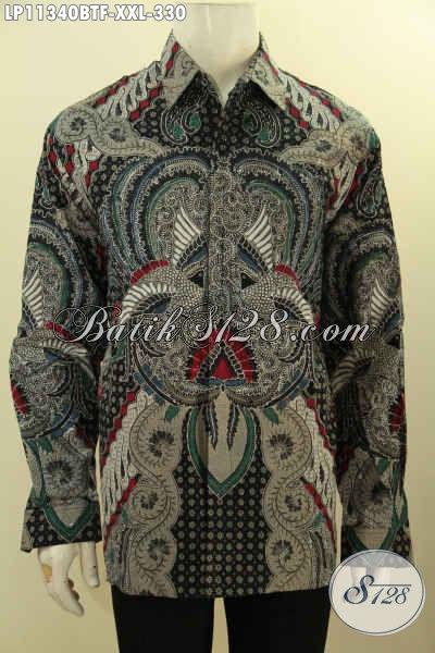 Kemeja Batik Pria Lengan Panjang Elegan Motif Klasik Full Furing, Busana Batik Lelaki Gemuk Size XXL Proses Kombinasi Tulis Untuk Kerja Atau Kondangan