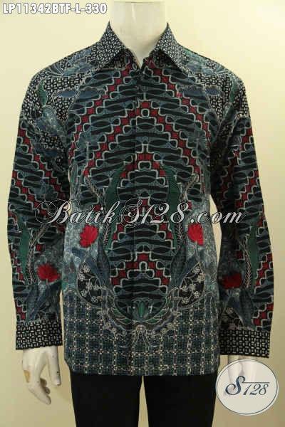 Baju Kemeja Batk Kombinasi Tulis Model Lengan Panjang Full Furing, Pakaian Batik Solo Terbaik Bahan Adem Motif Bagus Dan Mewah Untuk Pria Muda Tampil Mempesona