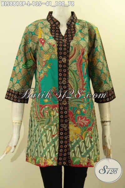 Blouse Batik Elegan Nan Istimewa Motif Mewah Proses Printing, Pakaian Batik Kekinian Model Kerah Shanghai Lengan 3/4, Tampil  Cantik Dan Anggun