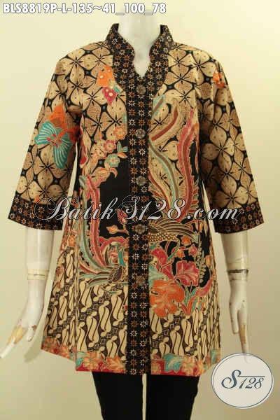 Blouse Batik Kerah Shanghai Nan Elegan, Baju Batik Modern Lengan 3/4 Motif Bagus Kwalitas Istimewa, Menunjang Penampilan Terlihat Cantik Menawan