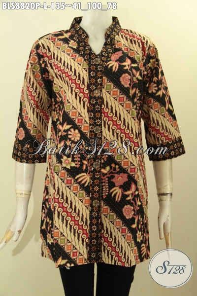 Baju Batik Wanita Cantik, Blouse Batik Kerja Desain Terbaru Dengan Kerah Shanghi Lengan 3/4 Bahan Adem Nyaman Di Pakai Motif Bagus Proses Printing [BLS8820P-L]