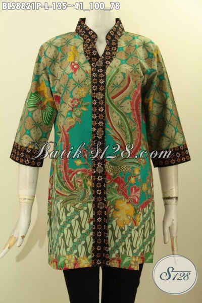Baju Batik Wanita Masa Kini, Blouse Batik Elegan Dan Mewah Motif Terbaru Kwalitas Bagus Model Kerah Shanghai Lengan 3/4, Penampilan Lebih Mempesona