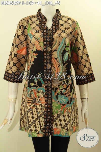 Koleksi Busana Batik Kerja Wanita Masa Kini, Blouse Batik Berkelas Motif Bagus Proses Printing Lengan 3/4, Cocok Untuk Kerja Atau Kondangan [BLS8822P-L]