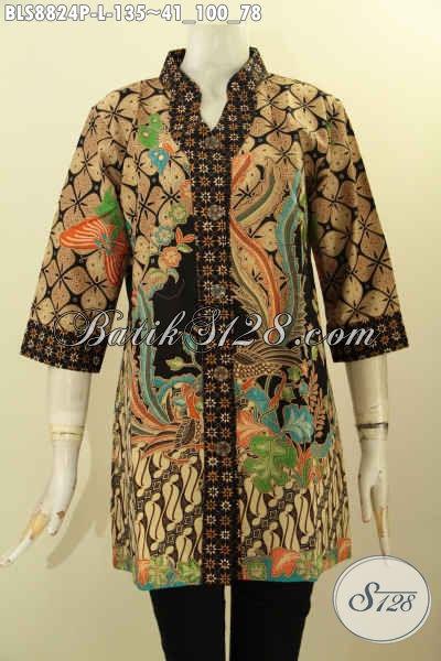 Busana Batik Blouse Modern Dan Elegan, Baju Batik Kerja Lengan 3/4 Motif Bagus Desain Kerah Shanghai, Cocok Juga Untuk Acara Resmi